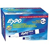 Expo Low Odor Chisel Tip Dry Erase Markers, 12 Blue Markers (80003) Case of 12 Packs