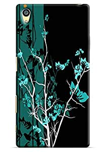 Omnam Black And Green Gardern Effect Printed Designer Back Cover Case For Sony Xperia Z5 Premium