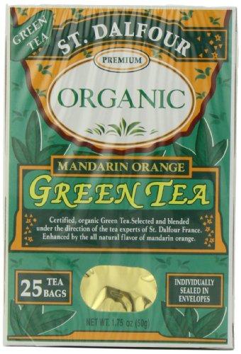 St. Dalfour Organic Green Tea, Tea Bags, Mandarin Orange, 25 Count Box (Pack Of 6)