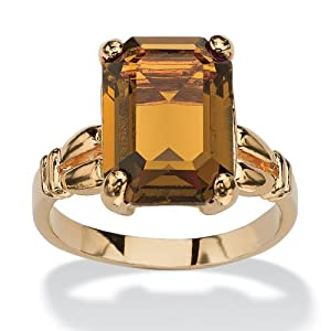PalmBeach Jewelry Emerald-Cut Birthstone 14k Yellow Gold-Plated Ring- November- Simulated Citrine