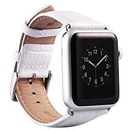 Apple Watch Band,Valkit(TM) Genuine Leather Smart Watch Band Strap Bracelet Replacement Wristband 42mm With Adapter Clasp for Apple Watch (For Apple Watch 42MM, Crocodile Pattern-(White))
