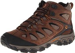 Merrell Men\'s Pulsate Mid Waterproof Hiking Boot,Black/Bracken,10 W US