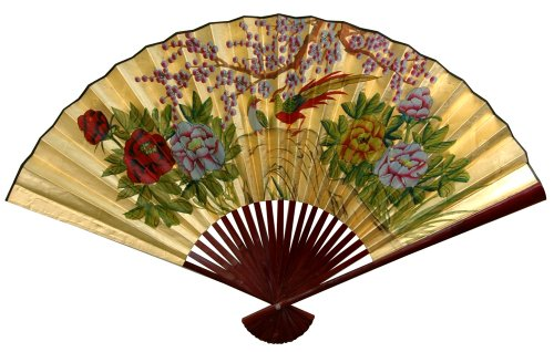 "Beautiful Graduation Gift - 48"" Chinese Decorative Wall Fan - Gold Leaf w/ Cherry Blossoms - Large"