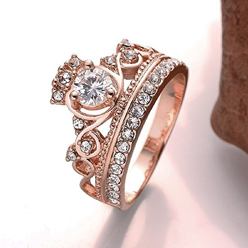 Women's Jewerly Wedding Rose Gold Plated Crystals Crown Shape Fashion Lady Cocktail Ring Size 8 Pink