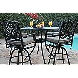 "CBM Outdoor Patio Furniture 5 Piece Aluminum 48"" Bar Table Set with 4 Swivel Bar Stool cbm1290"
