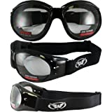 Red Baron Motorcycle / Aviator Goggles Black Padded Frame w/ Clear Lens