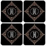 Colorpur Retro Black Letter W Wooden Square Coaster (Set Of 4) - 9cm X 9cm (Black)