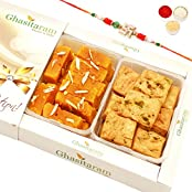 Rakhi Gifts Sweets- Mysore Pak And Methi Mathri Hamper-r2