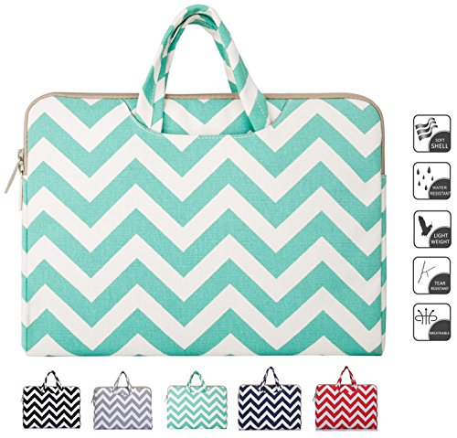 Mosiso - Stile Chevron Tessuto di Tela Custodia Borsa Ventiquattrore Cartella Involucro Sleeve Case per Acer Chromebook 11, C720, C720P, C740 / HP Stream 11 / Samsung Chromebook 2 / Netbook / Laptop / Notebook / Computer Portatile / MacBook Air / Apple MacBook da 11-11.6 Pollici, Blu Caldo