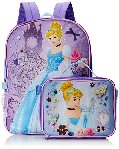 Disney Girl's Cinderella Backpack with Lunch Kit, Blue, One Size