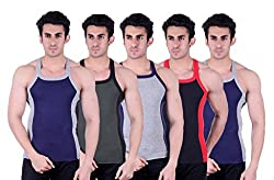 Zimfit Superb Gym Vests - Pack of 5 (BLU_GRN_GRY_BLK_BLU_80)