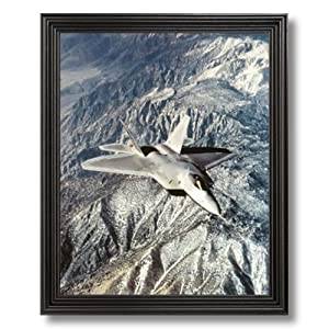FA 22 Raptor Military Aircraft Jet Airplane Picture Black Framed Art Print