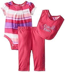 Calvin Klein Baby-Girls Newborn Creeper with Pants and Bib, Purple, 3-6 Months