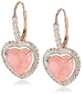 Sterling Silver Pink Opal and Diamond Heart Lever Back Earrings, (.015 Cttw, G-H Color, I3 Clarity)