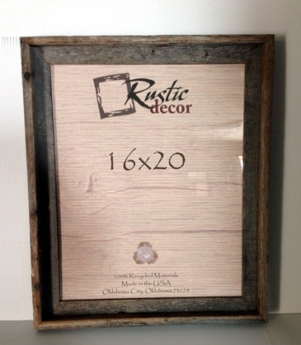 16x20 Picture Frames - Barnwood Reclaimed Signature Wall Frame with Plexi