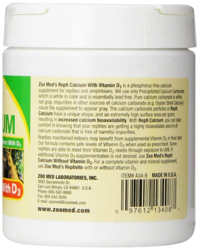 Zoo Med Reptile Calcium With Vitamin D3 8 Ounce