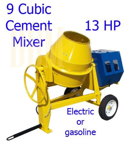9 cu cubic concrete cement mixer 13hp electric gas
