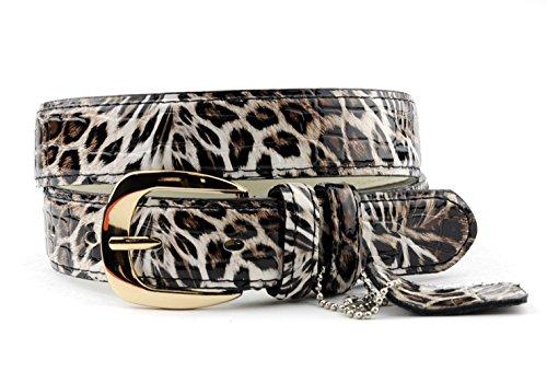 NYfashion101 Dressy Skinny Faux Leather Leopard Print Gold-Tone Buckle Belt