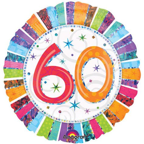"ANAGRAM 18"" FOIL BIRTHDAY BALLOON 60 YEARS PRISMATIC"