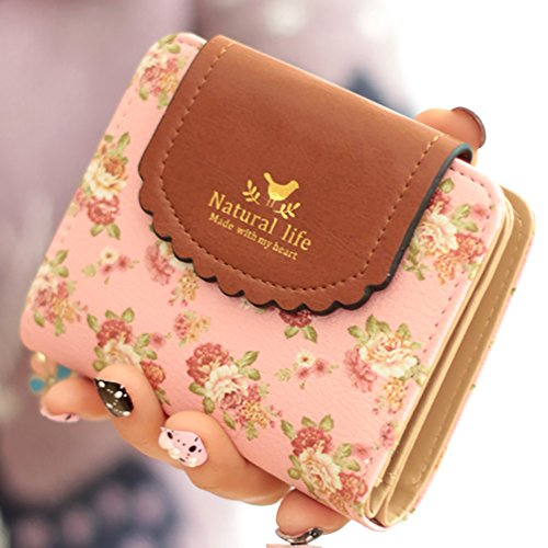 ETIAL Women's Vintage Floral Zip Mini Wallet Short Design Coin Purse Pink