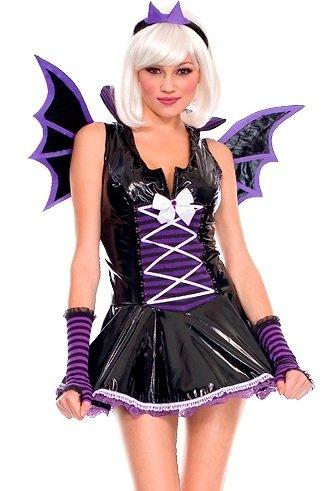 Music Legs Sexy Purple Vinyl Bat Costume Sexy Vinyl Vampire Bat Girl Adult