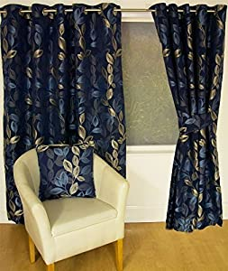 Boreal Blue Floral Leaf Lined 46x90 Ring Top Eyelet Curtains #nednil *hc* by Curtains