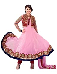 Surat Tex Light Pink Color Wedding Wear Embroidered Net & Velvet Semi-Stitched Anarkali
