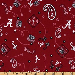 collegiate cotton broadcloth university of alabama bandana red fabric by the yard. Black Bedroom Furniture Sets. Home Design Ideas