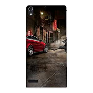 Stylish Red Car Impact Multicolor Back Case Cover for Ascend P6