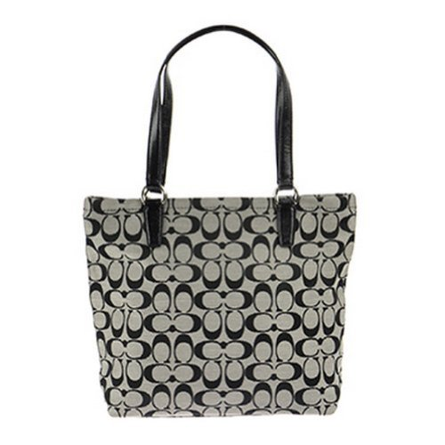 Coach   Coach Signature Stripe Tote in Black & White - Style 28504