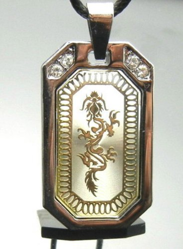 TF730 Chinese Dragon Crystal RS Metal Pendant Necklace Punk Gothic EMO