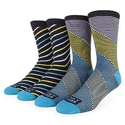 Funky Socks Men\'s 2-Pack Colorful Patterned Crew Socks (Bias Feed Stripe), Black, Pink, Yellow, Turquoise Blue, Sock Size 10-13