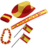 Sonia Originelli Fanpaket Spanien Espana Spain Flagge Schweißband Blumenkette Fahne Schal Perücke SPA-SET-1-XXL