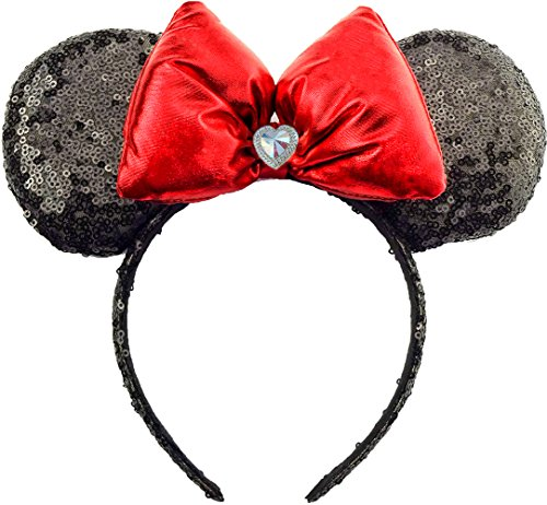 Minnie Mouse Ears Sequin Sparkle Black Headband Red Hair Bow Mickey Daisy Duck Halloween Costume Adult Women Girls Handmade by Sweet in the (Halloween Costume 1012)