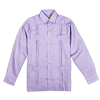 Mens beach wedding shirt, lavender guayabera.