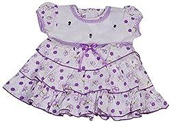 Be BeBo Girl's cotton Regular Fit Dress (544, Violet, 18-24 months)