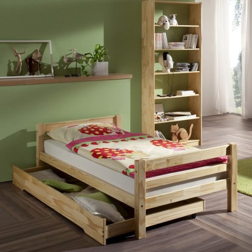 Lit simple lit enfant MAX 90 x 200 cm pin massif vernis naturel