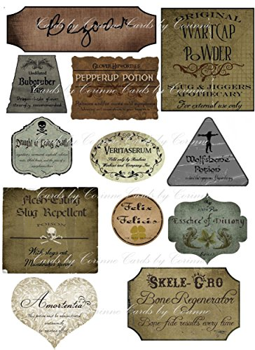 Halloween Harry Potter 12 laminated labels party decorations (Harry Potter Halloween Decorations)