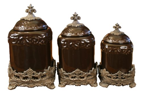 Tuscan Kitchen Canister Sets Drake Design 3555 Large Canister 3 Piece Set Coffee 13 5 12 10