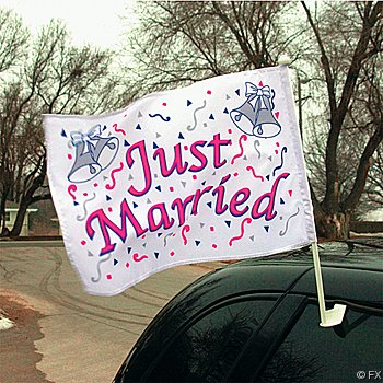 Just Married Car Flag With Holder Wedding Decoration