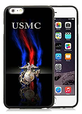 Custom Design With Delicate marine corps Black iPhone 6 Plus TPU 5.5 inch Case
