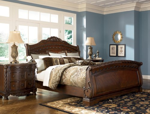 Ashley North Shore King Sleigh Bed in Dark Wood