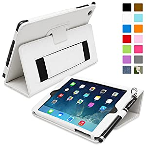 Snugg® iPad Mini & Mini 2 Case - Smart Cover with Flip Stand & Lifetime Guarantee (White Leather) for Apple iPad Mini & Mini 2 with Retina