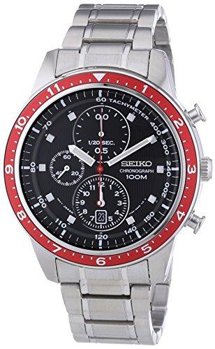 Seiko Men'S Sndf37P1 Chronograph Black Dial Stainless Steel Watch