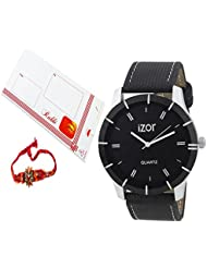 Rakhi Gift For Brother,Black Dial Analogue Casual Wear Watch With FreeRakhi (Rakhi Designs May Vary) - IZWARAKHI2002