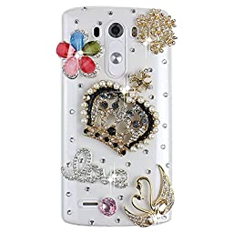 LG G Vista 2 Bling Case - Fairy Art Luxury 3D Sparkle Series Crown Flowers Swan LOVE Crystal Design Back Cover with Soft Wallet Purse Red Cloth Pouch - Colorful