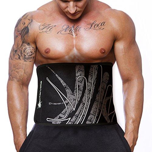 Actervate-Waist-Trimmer-Belt-Black-50-Inch-Slimmer-Belt-Sweat-Belt-for-Women-and-Men-Best-Belly-Burner-Belt-Waist-Belt-Back-Support-Abs-Workout-Slimming-Weight-Loss-Belt-Mini-Sauna-Suit