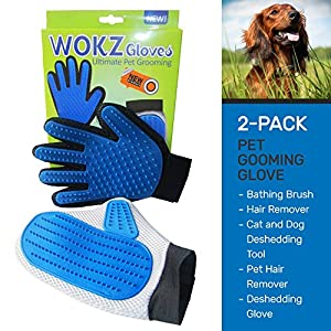 WOKZ 2- Pack Pet Grooming Glove. For Long and Short Hair Grooming of Dogs, Horses, Bunnies and Cats. This Grooming Kit can also be used for Pet Massage, Deshedding Glove, Bath Brush & Comb.
