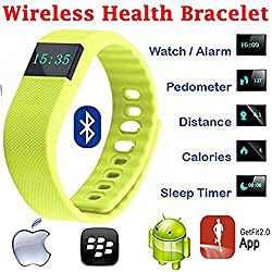 Evana (get free TTL/Trusttel Branded mobile pouch) TW64 OLED Display Bluetooth 4.0 Waterproof Smart Bracelet Watch, Support Pedometer / Sleep Monitoring / Call Reminder / Clock / Remote camera / Anti-lost Function, Compatible with iOS and Android System Watches for men women (Yellow)