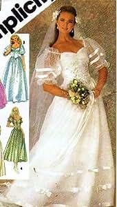 Amazon Simplicity 6241 Lined Wedding Dress Pattern Vintage Wedding 1983 Brides Maid Prom